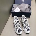 Dior Men's Women's D-CONNECT Sneaker Dior Printed Technical Fabric KCK302 Navy Blue and White - luxibagsmall