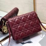 Dior S0855 Dior Lady Dior Pouchblack Ultramatte Cannage Calfskin Wine Red - Voguebags