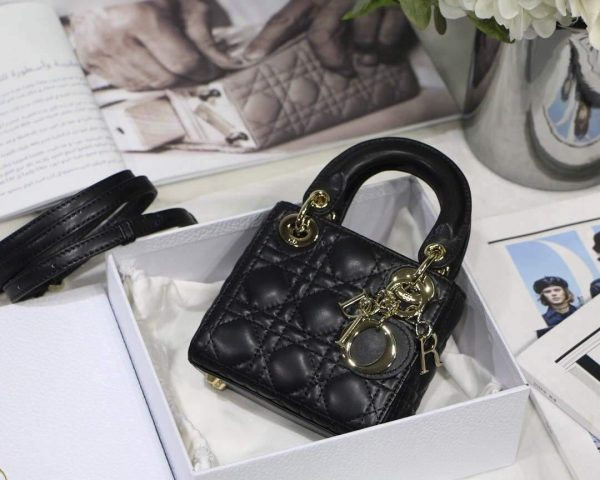 Dior S0856 MICRO LADY Dior Bag Black Cannage Lambskin - luxibagsmall
