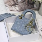 Dior S0856 MICRO LADY Dior Bag Cloud Blue Cannage Lambskin - luxibagsmall