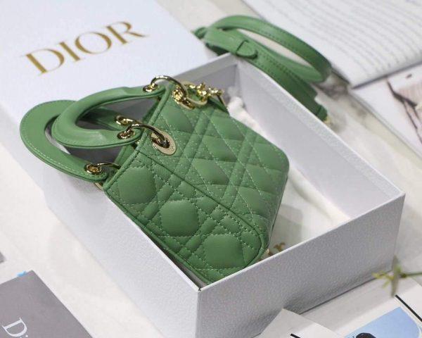 Dior S0856 MICRO LADY Dior Bag Green Cannage Lambskin - luxibagsmall