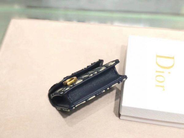 Dior S5652 Dior Saddle Lotus Wallet Bag Oblique Blue - luxibagsmall
