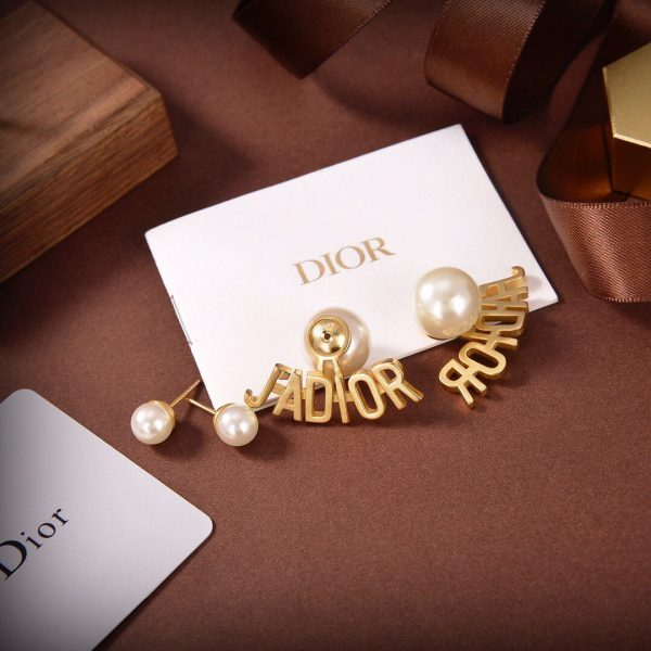 Dior Tribales Earrings Gold-Finish Metal and White Resin Pearls 20190 - luxibagsmall