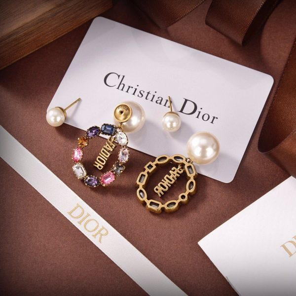 Dior Tribales Earrings Gold-Finish Metal White Resin Pearls And Multicolor Crystals 20198 - luxibagsmall