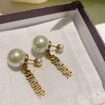 Dior J'ADIOR Earrings Antique Gold-Finish Metal White Resin Pearls and White Crystals 20202 - luxibagsmall