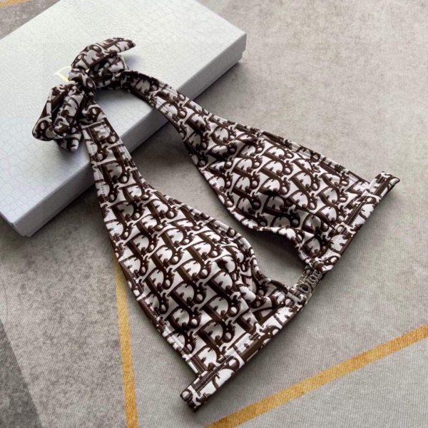 Dior Women's BIKINI TOP Brown Dior Oblique Technical Fabric 11BB01 - luxibagsmall