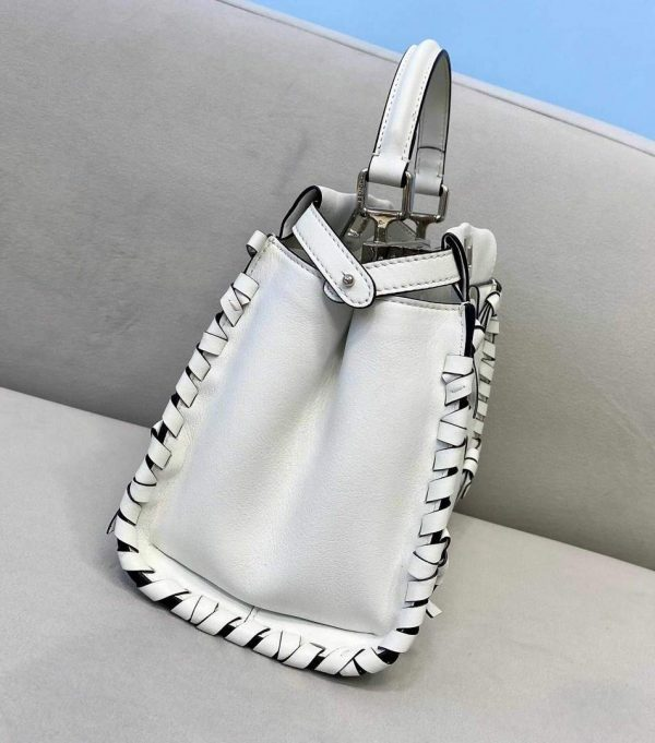 Fendi 5510S Peekaboo Iconic Essentially White Leather Bag - luxibagsmall