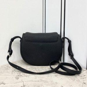 Fendi 655 Fendi Moonlight Shoulder Saddle Leather Bag Black - luxibagsmall