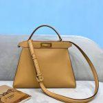 Fendi 70193 Peekaboo ISEEU MEDIUM Apricot Leather Bag - luxibagsmall