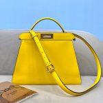 Fendi 70193 Peekaboo ISEEU MEDIUM Yellow Leather Bag - luxibagsmall