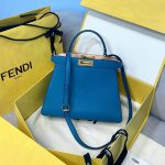 Fendi 70193 Peekaboo ISEEU MEDIUM Blue Leather Bag - luxibagsmall