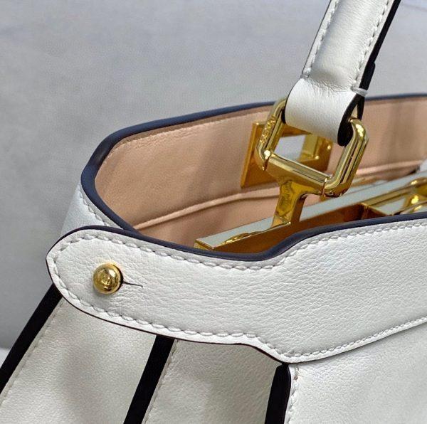 Fendi 70193 Peekaboo ISEEU MEDIUM White Leather Bag - luxibagsmall