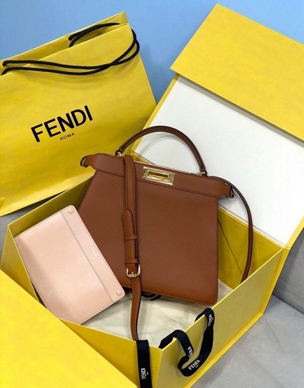 Fendi 70193 Peekaboo ISEEU MEDIUM Brown Leather Bag - luxibagsmall