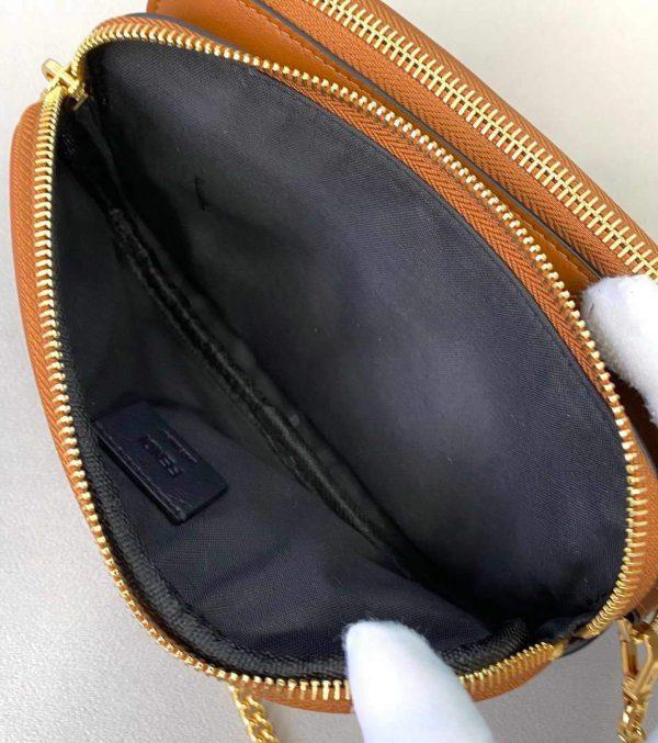 Fendi 70213 Easy Baguette Leather Handbag Brown - luxibagsmall