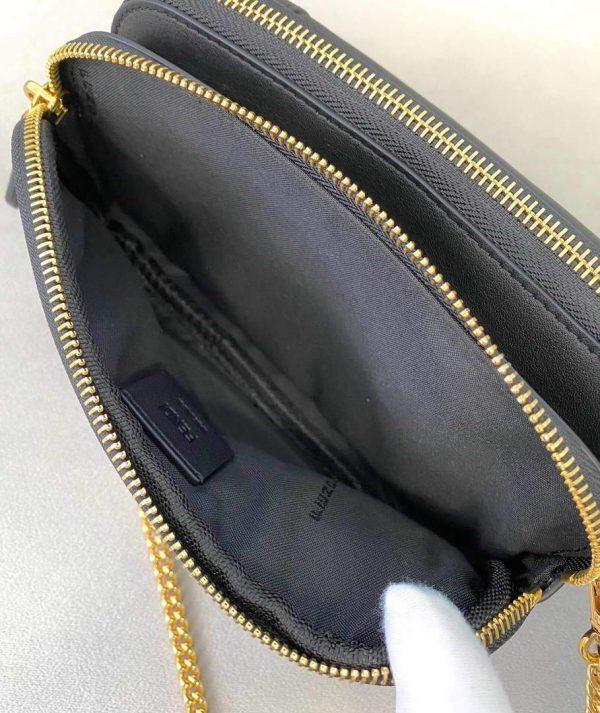 Fendi 70213 Easy Baguette Leather Handbag Black - luxibagsmall