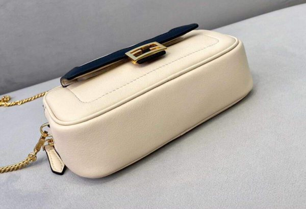Fendi 70213 Easy Baguette Leather Handbag White - luxibagsmall