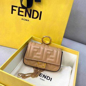 Fendi 7AR844 Nano Baguette Charm Apricot Nappa Leather - luxibagsmall