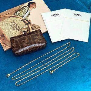 Fendi 7AR844 Nano Baguette Charm Brown Nappa Leather - luxibagsmall