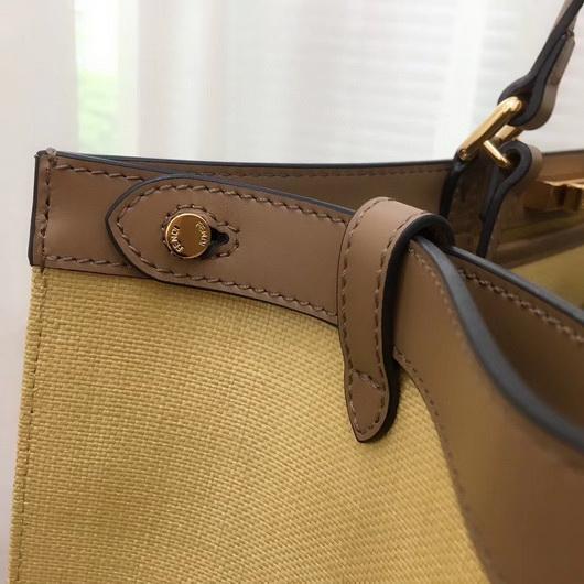Fendi 8BH374 FENDI PEEKABOO X-TOTE Apricot Canvas Bag - luxibagsmall