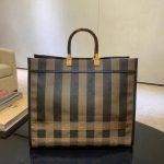 Fendi 8BH372 FENDI Large Sunshine Shopper Bag in Brown Fabric - luxibagsmall