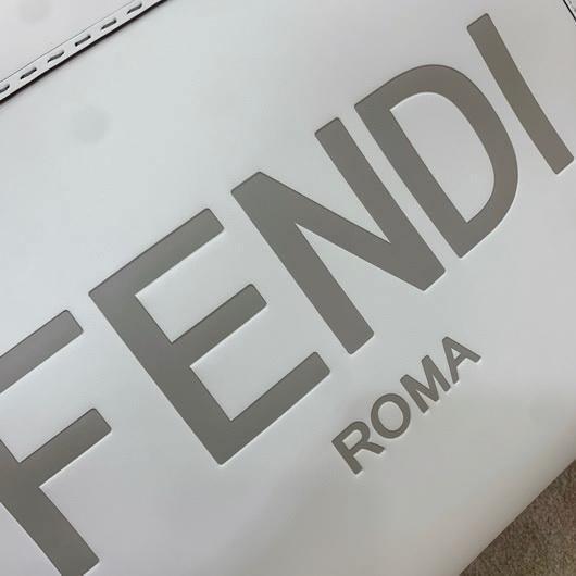 Fendi 8BH372 FENDI Large Sunshine Shopper Bag White Leather - luxibagsmall