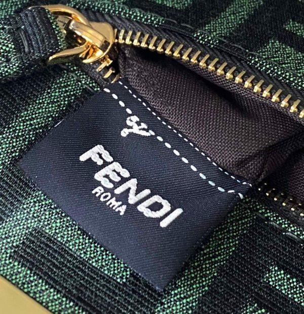 Fendi 8BN244 Peekaboo Iconic Mini Jacquard Fabric Interlace Bag 2126AS Green - luxibagsmall