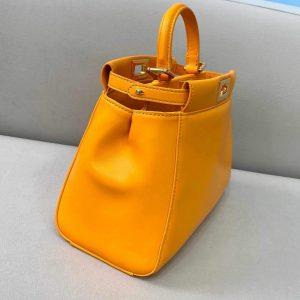 Fendi 8BN244 Peekaboo Iconic Mini Orange Nappa Leather Bag - luxibagsmall