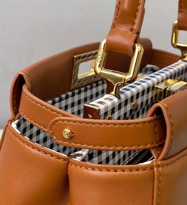 Fendi 8BN244 Peekaboo Iconic MINI Brown Leather 8315 Bag - luxibagsmall