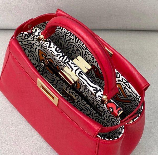 Fendi 8BN244 Peekaboo Iconic MINI Red Leather 8315 Bag - luxibagsmall