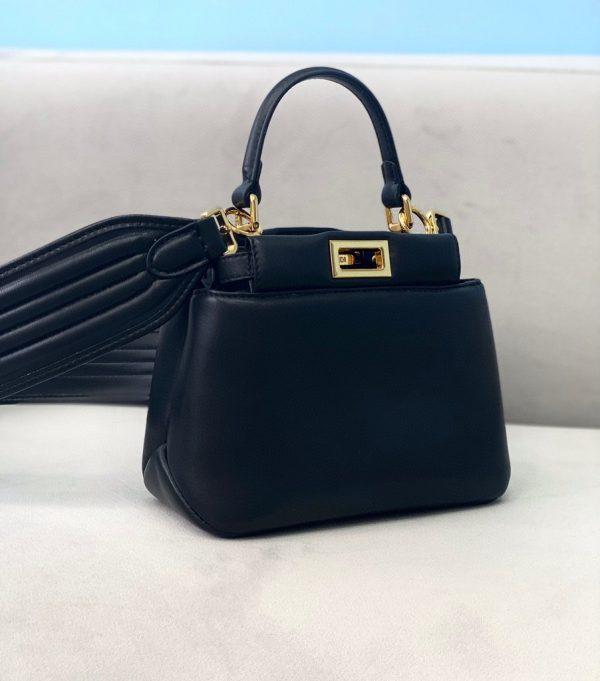 Fendi 8BN320 Peekaboo ICONIC XS Black nappa Leather 8328 Bag - luxibagsmall