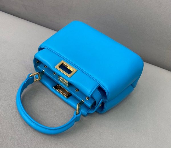 Fendi 8BN320 Peekaboo ICONIC XS Blue Nappa Leather 8328 Bag - luxibagsmall