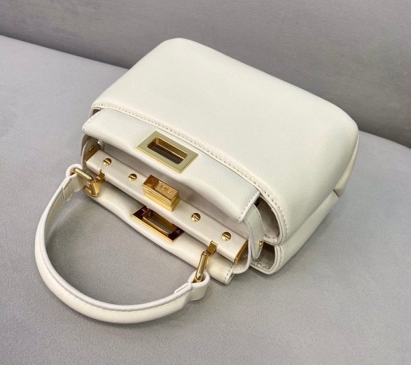 Fendi 8BN320 Peekaboo ICONIC XS White Nappa Leather 8328 Bag - luxibagsmall