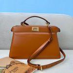 Fendi 8BN323 Peekaboo ISEEU EAST-WEST Brown Leather 70193S Bag - luxibagsmall