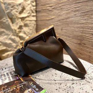 Fendi 8BP127 FENDI FIRST Medium Dark Brown leather bag - luxibagsmall