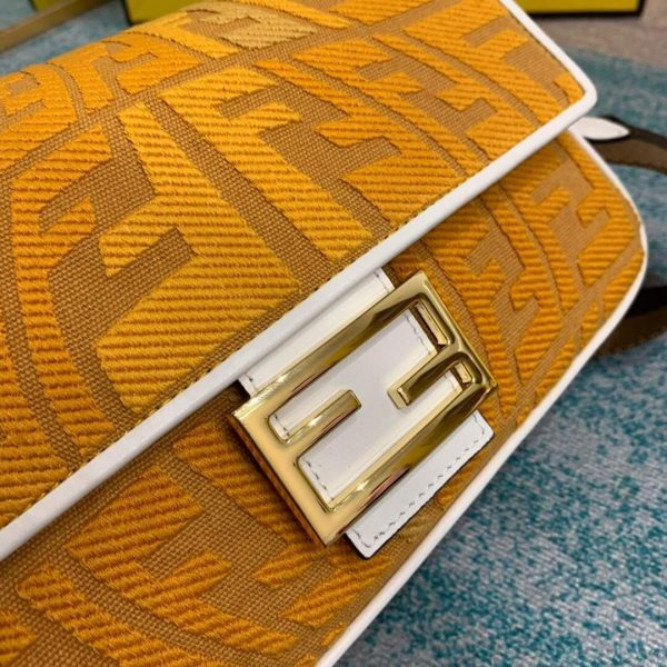 Fendi 8BR600 Baguette Embroidered Canvas Bag Yellow - luxibagsmall