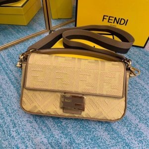 Fendi 8BR600 Baguette Embroidered Canvas Bag Apricot - luxibagsmall