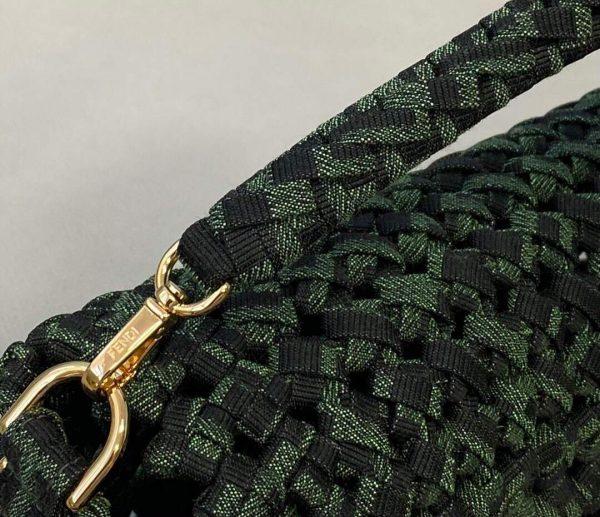 Fendi 8BR600 Baguette Jacquard Fabric Interlace Bag 8267S Green - luxibagsmall