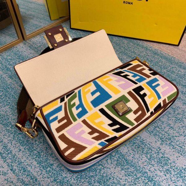 Fendi 8BR600 Baguette Multicolour Embroidered Canvas Bag - luxibagsmall