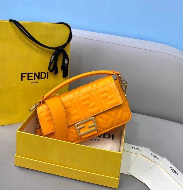 Fendi 8BR600 Baguette Orange Nappa Leather Bag - luxibagsmall