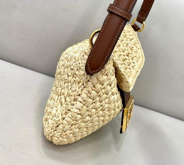 Fendi 8BR790 Small Croissant Woven Straw Bag 8373A Brown - luxibagsmall