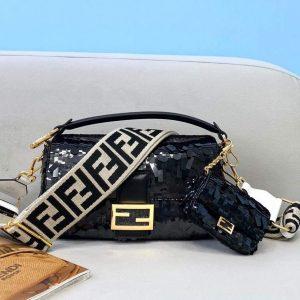 fendi 8br792 medium baguette 1997 black satin bag with sequins 1