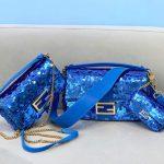 fendi 8br792 medium baguette 1997 blue satin bag with sequins 1