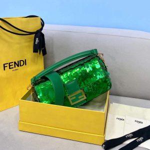 fendi 8br792 medium baguette 1997 green satin bag with sequins 1