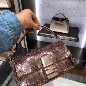 fendi 8br792 medium baguette 1997 pink satin bag with sequins 0127l 1