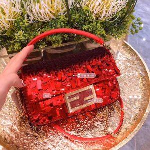 fendi 8br792 medium baguette 1997 red satin bag with sequins 1