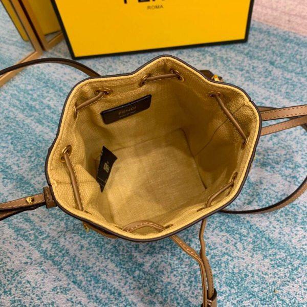 Fendi 8BS010 Mon Tresor Leather And Canvas Mini Bag Apricot - luxibagsmall