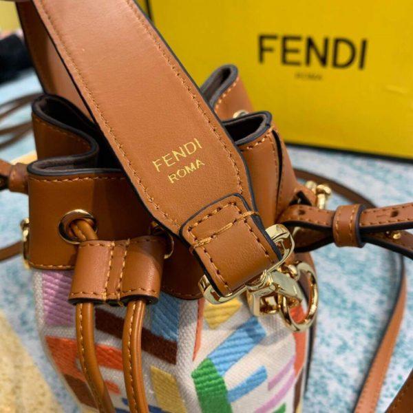 Fendi 8BS010 Mon Tresor Leather And Canvas Mini Bag Multicolour - luxibagsmall