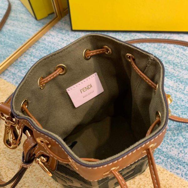Fendi 8BS010 Mon Tresor Leather And Canvas Mini Bag Green - luxibagsmall