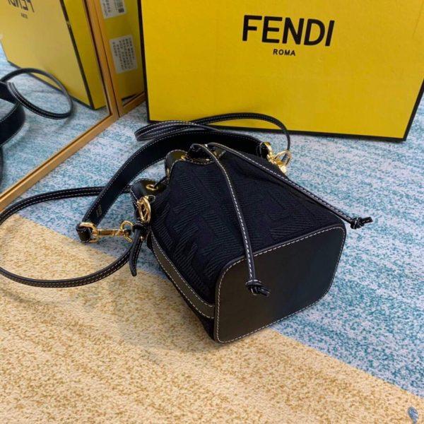 Fendi 8BS010 Mon Tresor Leather And Canvas Mini Bag Black - luxibagsmall