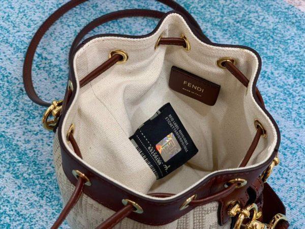 Fendi 8BS010 Mon Tresor Leather And Canvas Mini Bag Beige - luxibagsmall
